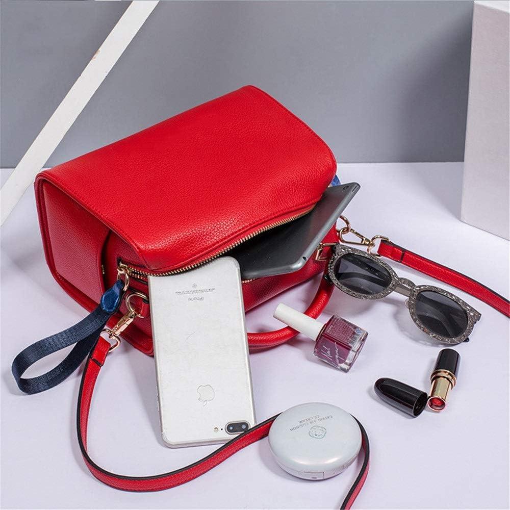 BESTSOON Frauen Handtaschen- Damenmode Crossbody breiter Schultergurt Schultertasche wild Trend red Handbag,Schultertasche (Farbe : Rot) Rot