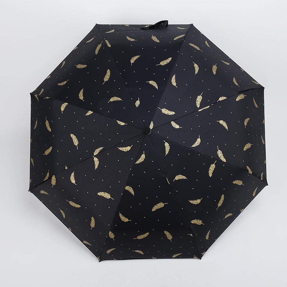 TtKj Folding Umbrella Small Fresh Gilt Feather Folding Black Gel Anti-Ultraviolet Sun Umbrella
