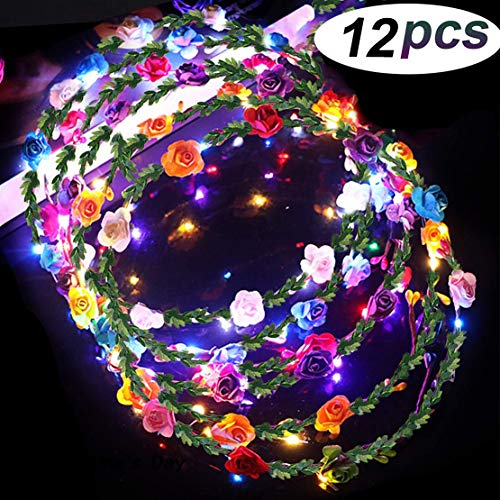 LED Flower Crown Glow in The Dark Party Favors, 12 Pack Adjustable Flower Wreath Headband Luminous 10 LED Flower Headpiece Flower Headdress for Girls Women Wedding Holiday Gifts Dress Up Accessories -