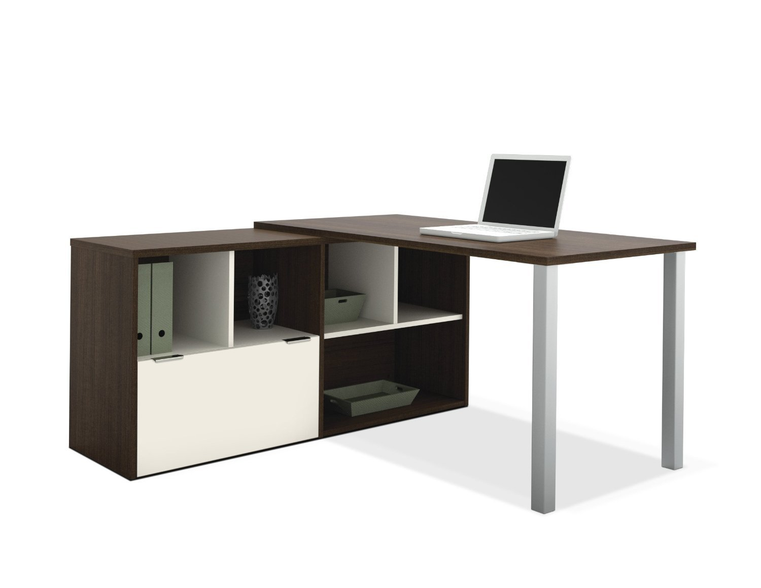 Amazon L Shaped Desk In Tuxedo And Sandstone Finish Kitchen Dining