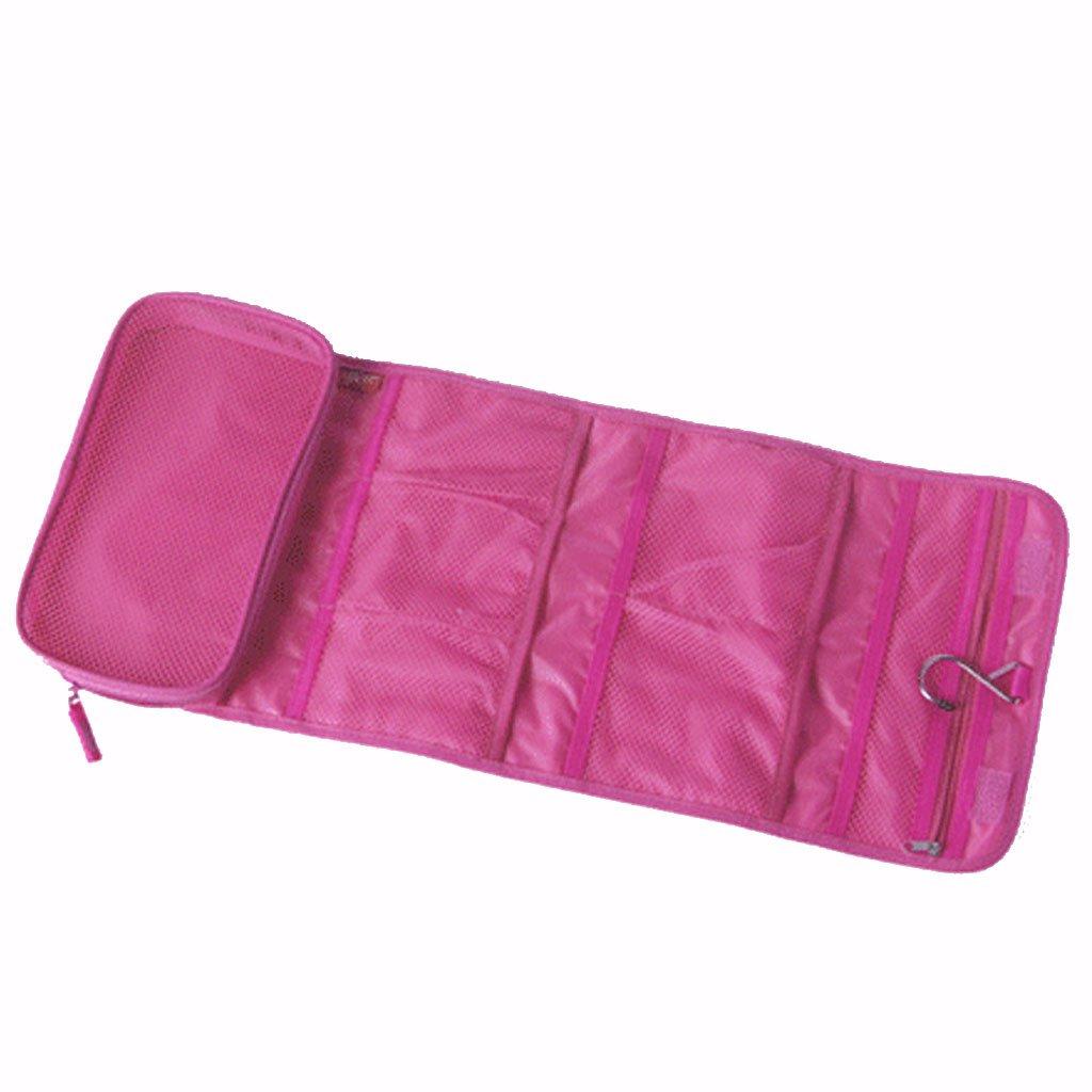 MagiDeal Belleza Porta Borsa Cosmetici da Viaggio Pieghevole Make-up Bag con il Supporto della Spazzola - - Rosso