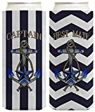 Captain First Mate Boating Couples Cruise 2 Pack Ultra Slim Can Coolie Drink Coolers Coolies Striped