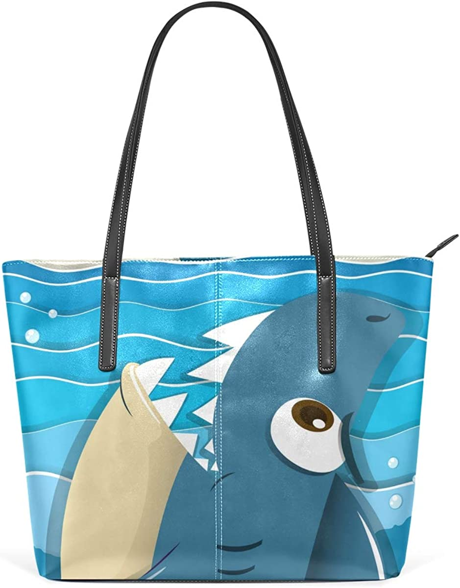 ANINILY Angry Shark Aiming Sailboat Leather Top Handle Satchel Girl Handbag Shoulder Tote Bag for Girls Women Tote for Shopping School Outdoor Picnic