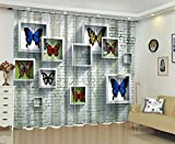 Newrara 3D Walls with Photo Frame Printed Modern and Artistic Painting 2 Panels 3D Blackout Curtain For Living Room&Bedroom,Free Hook Included (Multi, 80''W63''L)