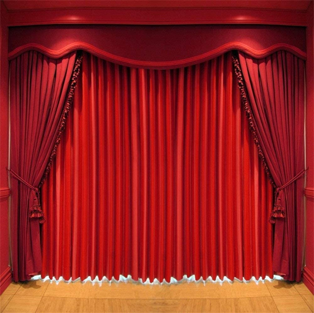 GoEoo 10x10ft Red Curtain Backdrop Party Ceramic Tile Floor Stage Back Drops Screen Anniversay Events Wedding Shower Birthday Photography Background Cloth Photo Studio Prop
