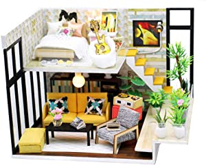 ROOMLIFE DIY Dollhouse Kit Cute DIY Miniatures for Adults Model Kits DIY Dollhouse Furniture Kit Mini Toys for Girls,Teens Kids, Wife Birthday, Wooden Dollhouse with Dust Cover and Tools