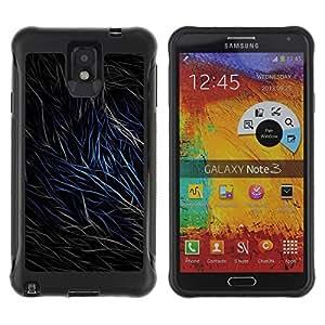 Pulsar Defender Series Tpu silicona Carcasa Funda Case para SAMSUNG Galaxy Note 3 III / N9000 / N9005 , Abstract Fur Lines