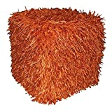 Design Accents Plush Hand Woven Pouf, 18-Inch by 18-Inch by 18-Inch, Orange