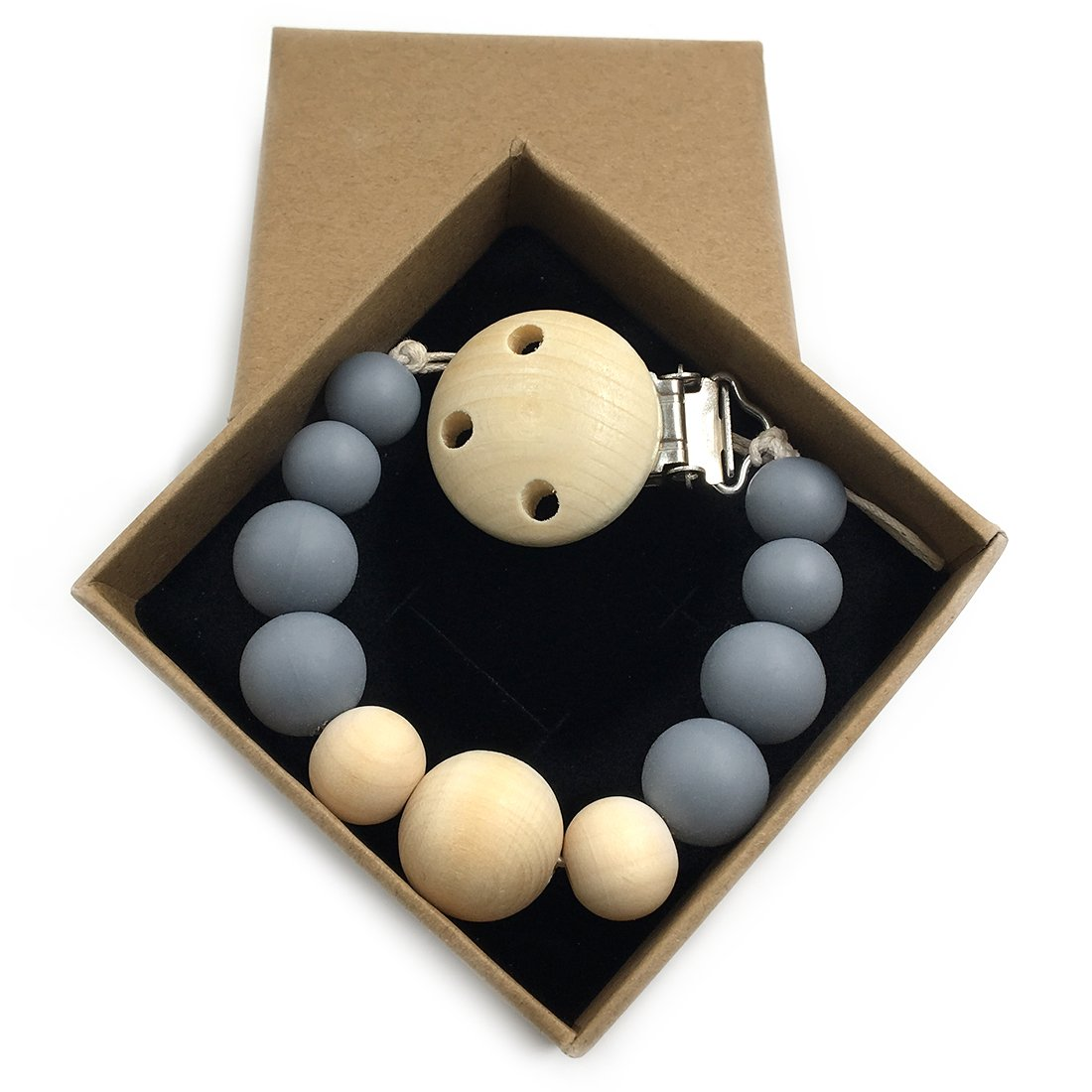 Amyster Natural Silicone//Wooden Beads Wooden Pacifier Clip Newborn Baby Soother Chew Pacifier Chain DIY Baby Teething Grasping Toy Gray