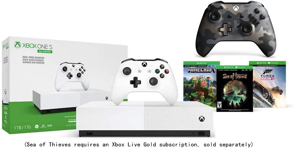 Microsoft Xbox One S 1TB All-Digital Edition Console Bundle + Night Ops Camo Special Edition Wireless Controller | Include:Xbox One S 1TB Console, Wireless Controller