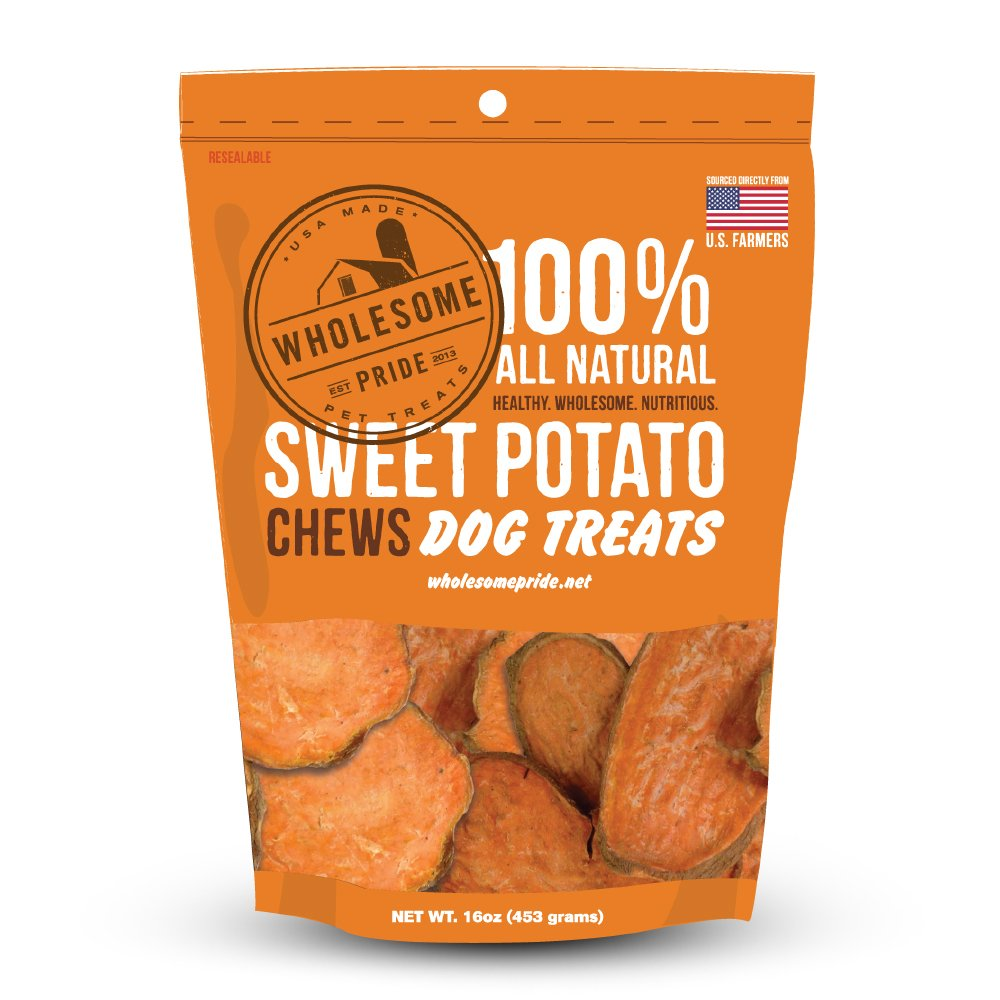 Wholesome Pride Pet Treats Sweet Potato Chews Dog Treats - 16oz - Grain Free, All Natural, Vegetarian, Made in the USA