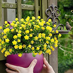 YISNUO Artificial Flowers, Fake Outdoor UV Resistant Plants Faux Plastic Greenery Shrubs Indoor Outside Hanging Planter Home Kitchen Office Wedding, Garden Decor(Yellow) 4