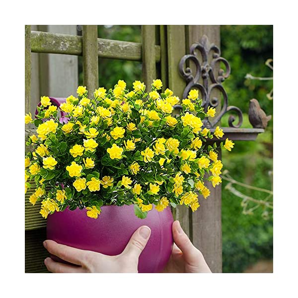 YISNUO-Artificial-Flowers-Fake-Outdoor-UV-Resistant-Plants-Faux-Plastic-Greenery-Shrubs-Indoor-Outside-Hanging-Planter-Home-Kitchen-Office-Wedding-Garden-DecorYellow