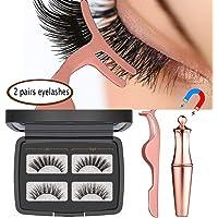 MOGOI False Eyelashes Kit With Magnetic False Eyelashes, Magnetic Eyeliner And Eyelashes Tweezers, No Glue Full Eye 5 Magnets Reusable Fake Eyelashes Natural Soft Eyelashes Extensions (2 pair eyelashes)