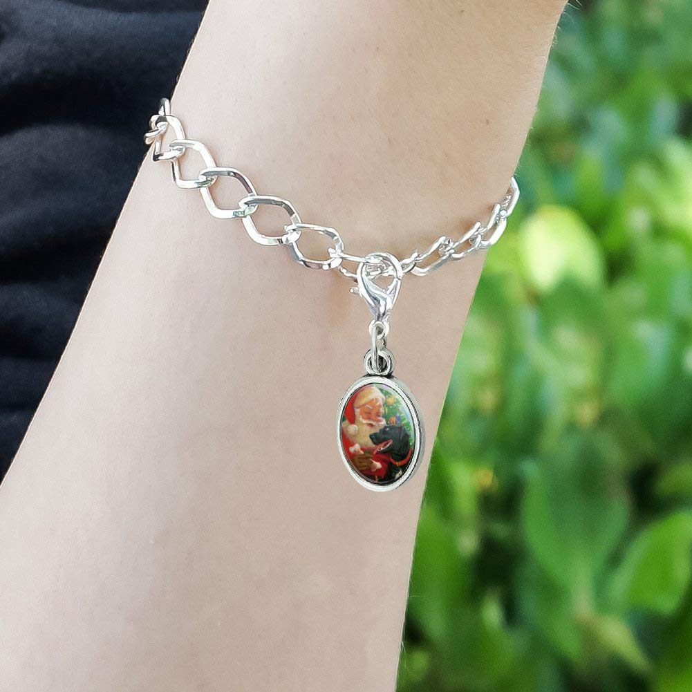 GRAPHICS /& MORE Christmas Holiday Santa and Black Lab Labrador Dog Antiqued Bracelet Pendant Zipper Pull Oval Charm with Lobster Clasp