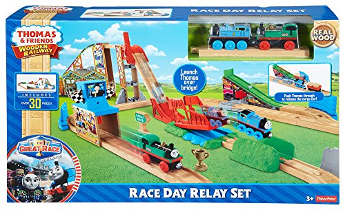 Fisher Price Thomas Friends Wooden Railway Race Day Relay Set