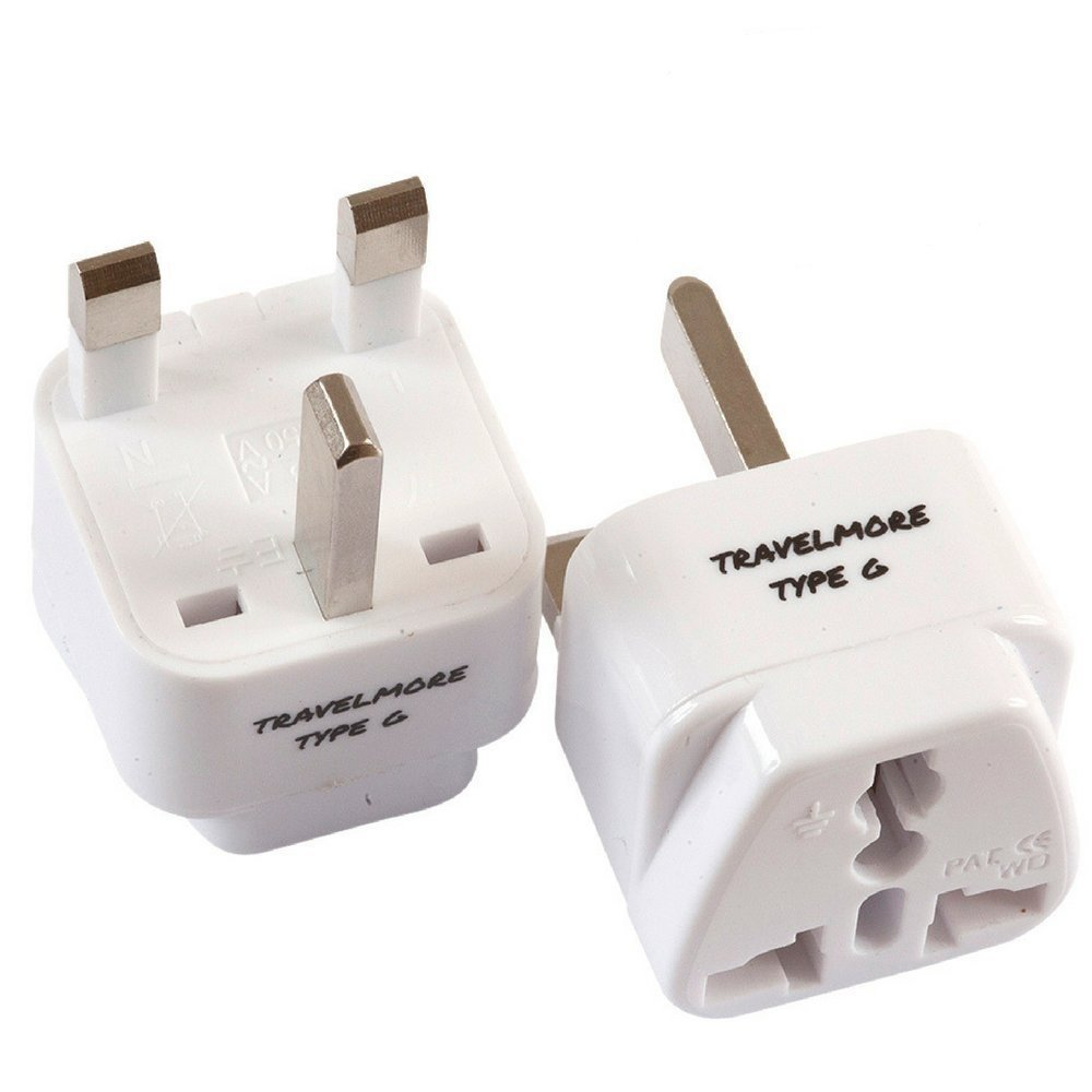 2 Pack UK Travel Adapter for Type G Plug - Works with Electrical Outlets in United Kingdom, Hong Kong, Ireland, Great Britain, Scotland, England, London, Dublin & More