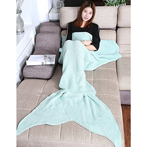 Hughapy® Mermaid Blanket Warm and Soft All Seasons Sofa Quilt Living room blanket (Large Adult, 200*100CM),cyan