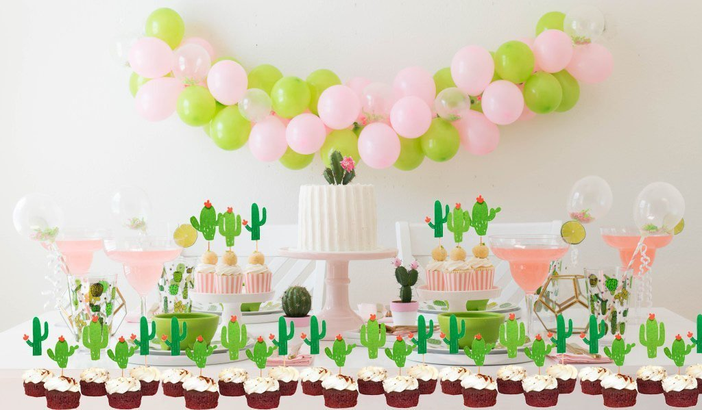 48 Pieces Cactus Cupcake Toppers Cupcake Picks and 1 Pack Cactus Banner for Fiesta West Cacti Theme Birthday Party Supplies Baby shower Decoration by Living Show (Image #6)