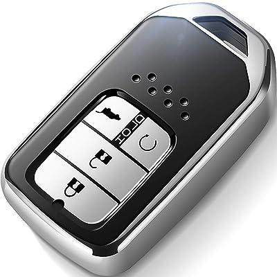 Intermerge for Honda Key Fob Cover,Special Soft TPU Key Case Protector Compatible with Honda Civic Accord CR-V HR-V Fit Odyssey JED Crosstour Crider Honda Keyless Smart Key Cover (Silver): Automotive