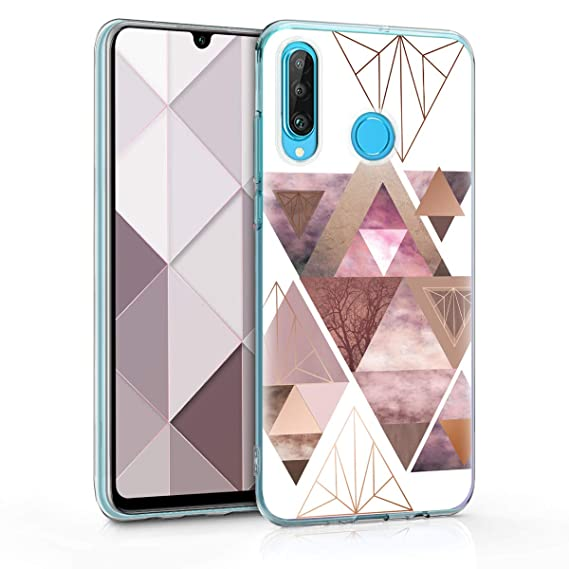 kwmobile Case for Huawei P30 Lite - TPU Silicone Crystal Clear Back Case Protective Cover IMD Design - Light Pink/Rose Gold/White