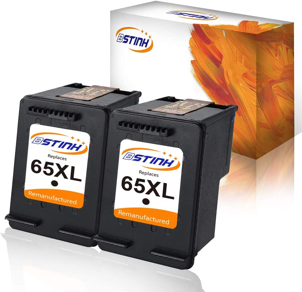 BSTINK Remanufactured Ink Cartridges for HP 65XL 65 XL(Updated Chip) for N9K04AN for HP Envy 5055 DeskJet 3755 2655 3720 3722 3723 3730 3732 3752 3758 2624 All-in-one Printer,2 Black
