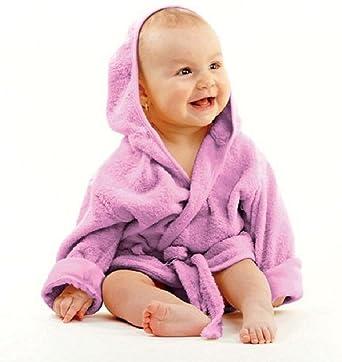afff1476c2e5d0 Haberkorn Baby weicher Frottee Bademantel mit Kapuze Gürtel und Knopf lila