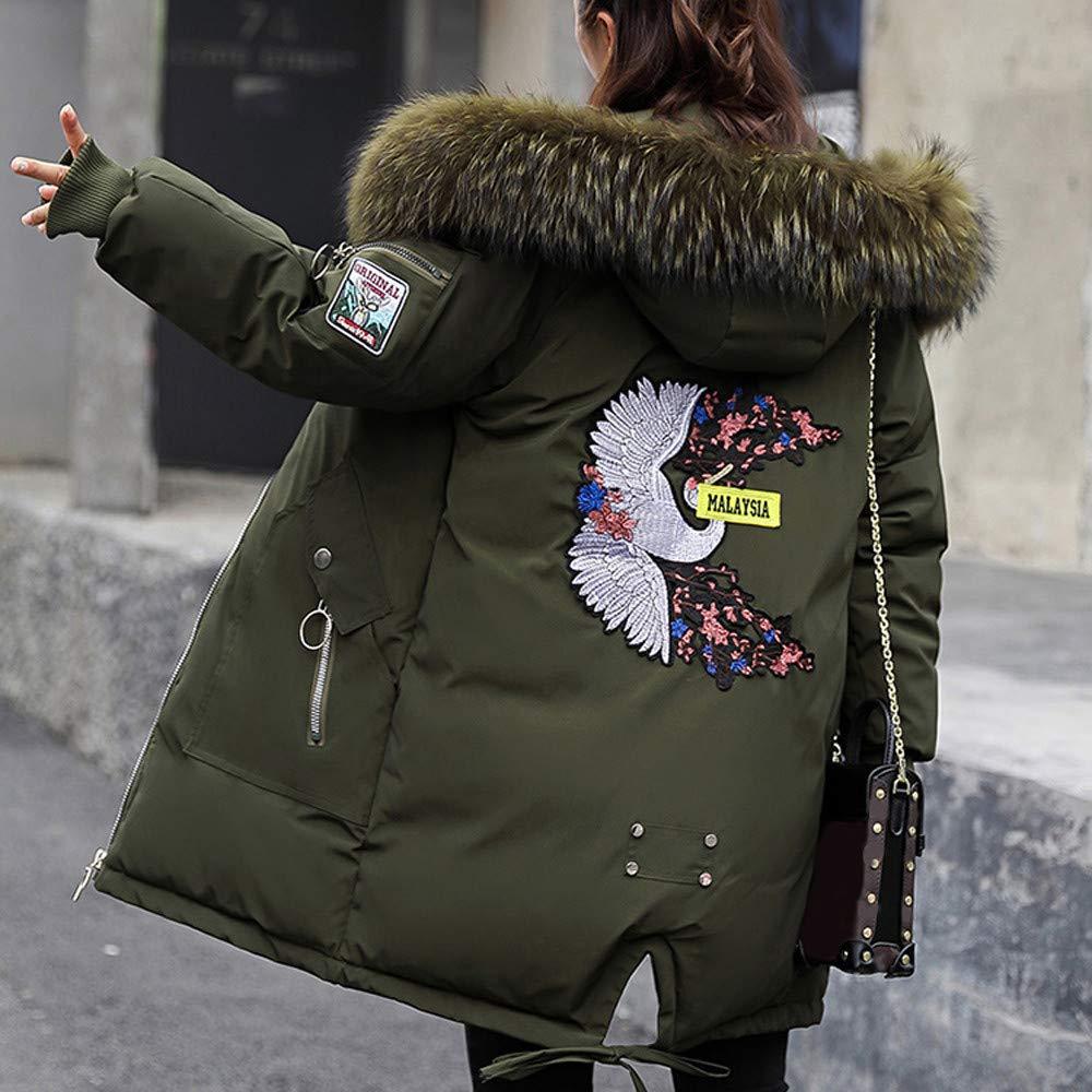 iQKA Women Padded Long Coat Winter Warm Thicken Parka Faux Fur Hooded Zipper Embroidery Overcoat Outerwear