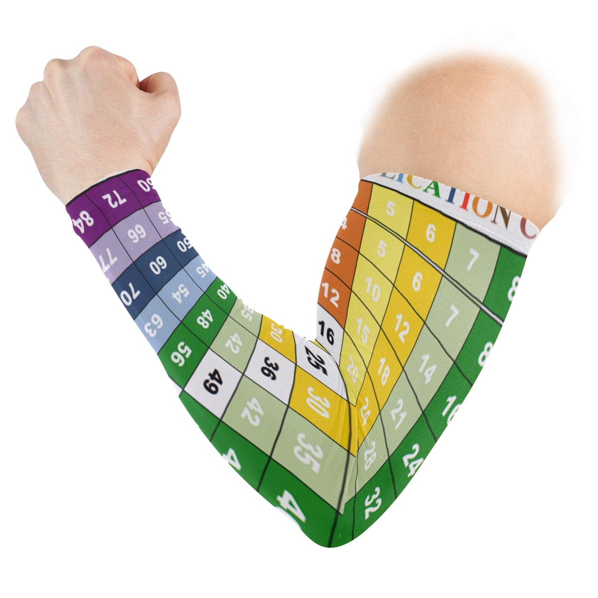 Arm Sleeves Times Table Tests 1 12 Man Baseball Long Cooling Sleeves Sun UV Compression Arm Covers