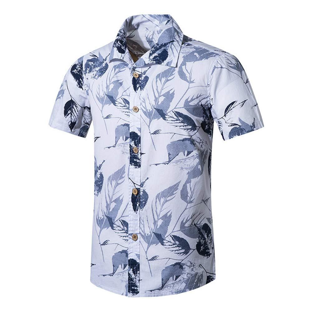 QHF Mens Hawaiian Printed Shirt Men Animal Print Short Sleeve Beach Shirt Asian-Size2,L