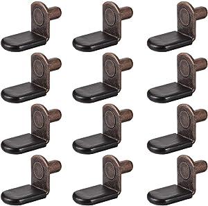 uxcell Shelf Support Peg,6mm L-Shaped Support, Furniture Cabinet Shelf,Bracket Pegs w Sleeve,for Kitchen Furniture Book Shelves Supplies,Antique Bronze 30pcs