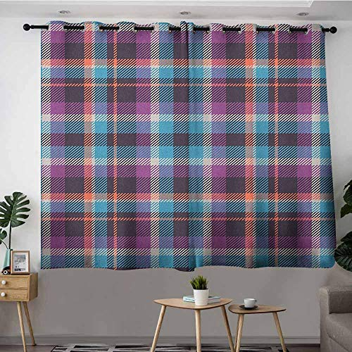 DGGO Custom Curtains,Checkered Celtic Tartan Irish Culture Scotland Country Antique Tradition Tile,Room Darkening, Noise Reducing,W63x45L Violet Pale Blue Salmon]()