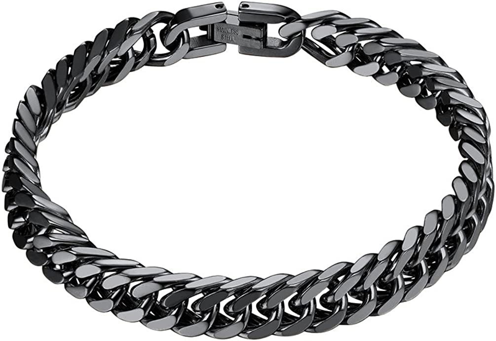 "PROSTEEL Stainless Steel Franco Chain Bracelet, Trendy Chunky Bracelets for Men Women, Black/18K Gold Plated, W: 8mm/12mm/17mm, L: 7.5""/8.3""/9"", Come Gift Box"
