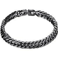 PROSTEEL Grawerowana, masywna bransoletka łańcuszka ze stali nierdzewnej dla mężczyzn, szerokość 8/12/17 mm, 19/21 cm…