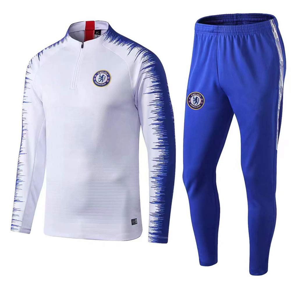 Pants Suit,22~ Football Training Suit Chelsea Club 19-20 Season Autumn And Winter Long-Sleeved Football Sportswear Suitable For Adult And Child Jersey Child~15~125KG//130~135CM