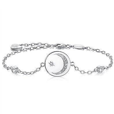 Bracelet pour femme avec croissant de lune et étoile en argent et pierre zirconium