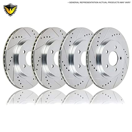 REAR DRILLED AND SLOTTED PLATED BRAKE Rotors For BMW 2000-2007 330i E46