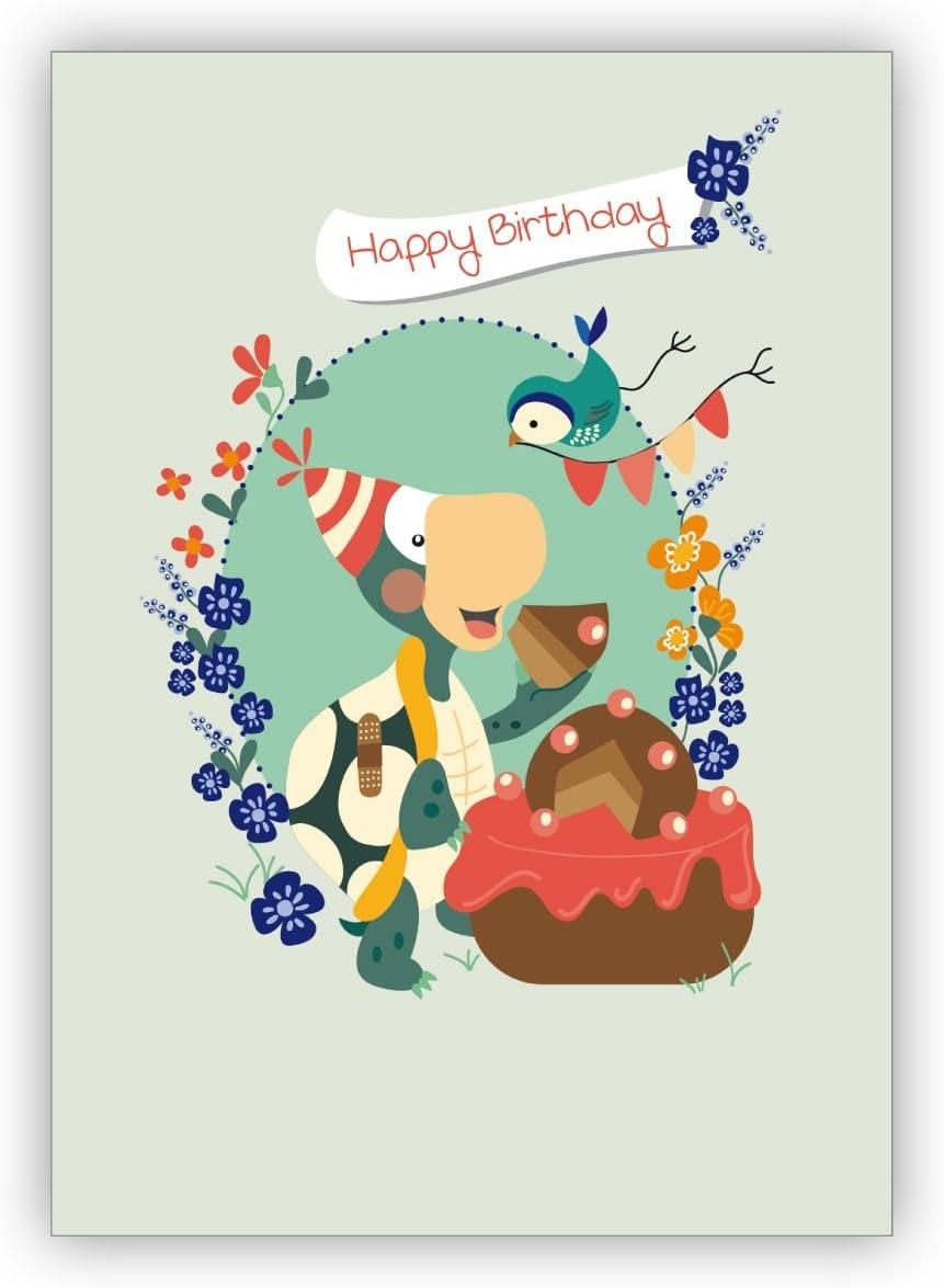 1 Niedliche Geburtstagskarte mit Schildkröte