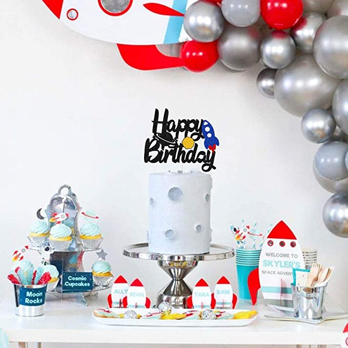 Blast Off Rocket Ship Cake Topper Outer Space Theme Happy Birthday Party Decorations Galaxy Astronaut To the Moon Man Robot UFO for Baby Shower 1st 2nd Birthday Party Decor Supplies