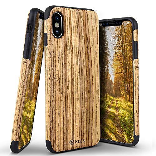 iPhone Xs Max Case, BELKA [Slim to Beat] Soft Wood Hybrid Flexible TPU Cushion Premium Rubber Bumper Back Cover, Shock Resistant Wooden Shell for Apple iPhone Xs Max 6.5 2018 - Teak