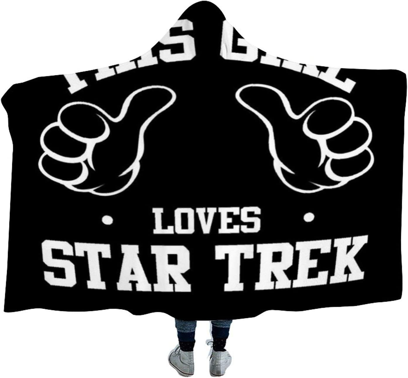 This Girl Loves Star Trek Themed Printed 4050 (in) Hooded Blanket, Arctic Velvet Material is Soft and Comfortable, Used in Autumn and Winter, Sofa Blanket, Bed Blanket