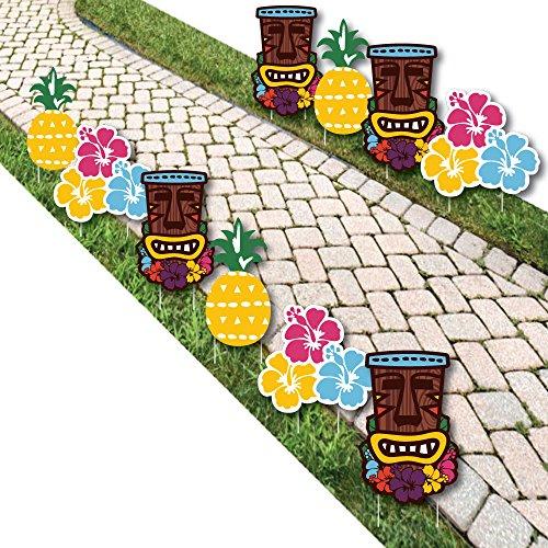 Tiki Luau - Tiki and Flower Lawn Decorations - Outdoor Tropical Hawaiian Summer Party Yard Decorations - 10 Piece -