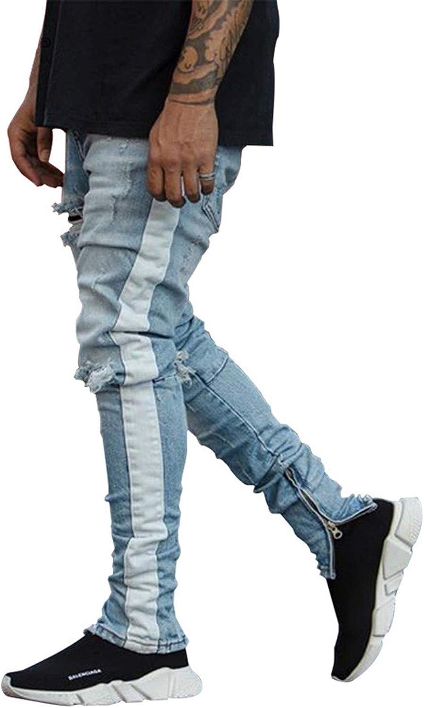 Joseph Papa Skinny Jeans Men Streetwear Ripped Jeans for Man Fitted Bottoms Zipper Hip Hop Jeans