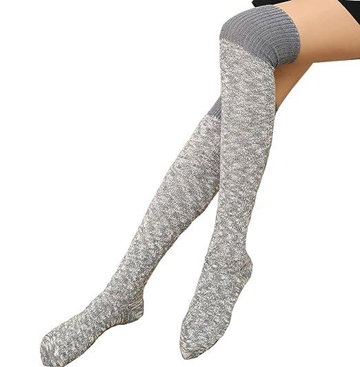 afa036287 Women Over Knee Wool Knit Long Socks Winter Thigh-Highs Warm Socks Stocking  (Gray) at Amazon Women s Clothing store