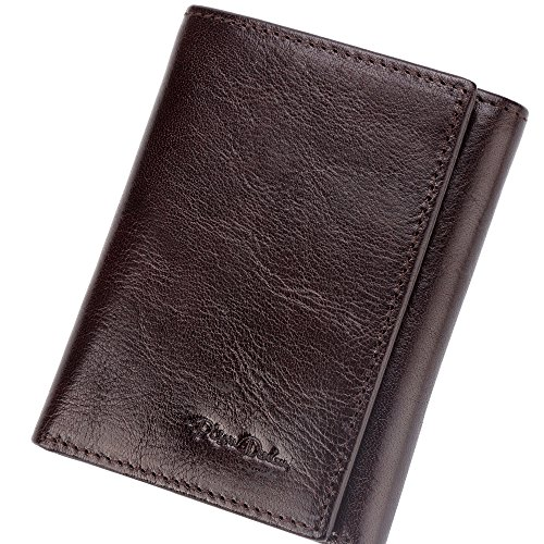 BISON DENIM Vintage Classic Men's Trifold Genuine Leather Handmade Wallet Card Holder Slim Thin Wallets Womens Coffee
