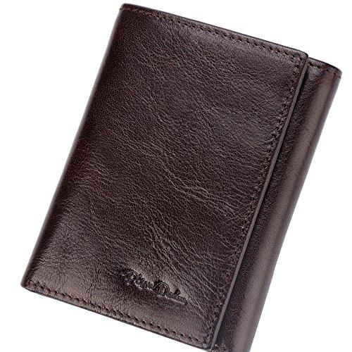 BISON DENIM RFID Blocking Bifold Wallet Front Pocket Genuine Leather Wallets Thin Credit Card Holder for Mens Womens ()