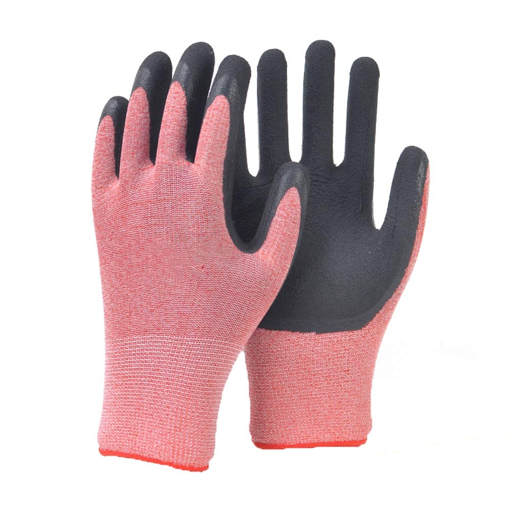 LZRZBH Industrial Gloves,Work Gloves for Women and Men - Latex Textured Coated, Ideal for Gardening, Fishing, and Yard Work(Orange, 12 Pairs Per Pack)