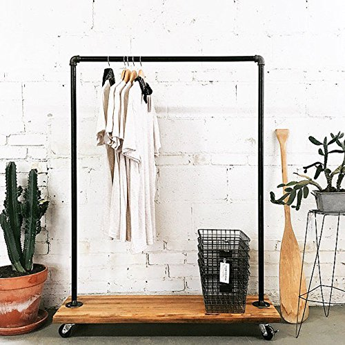 FOF Industrial Pipe Clothing Rack Garment Rack Pipeline Vintage Rolling Rack with wheels ballet clothing rack
