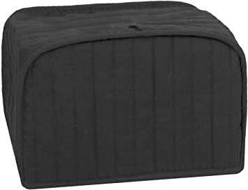 Dust and Fingerprint Protection RITZ Polyester // Cotton Quilted Four Slice Toaster Appliance Cover Black Machine Washable