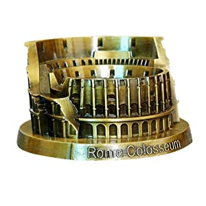 PROW Metal Rome Colosseum Model Retro Bronze Ancient Architecture Handmade Craft Home Desktop Décor Collectible Artificial World Famous Buildings Sculpture